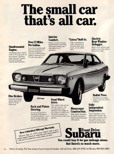 1975 Subaru GL Coupe Vintage Magazine Ad