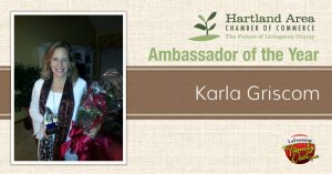 Karla Griscom is the 2015 Hartland Chamber of Commerce Ambassador of the Year