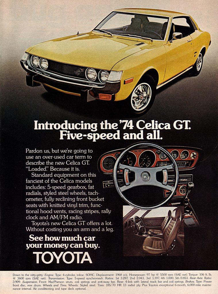 1974 Toyota Celica GT Vintage Magazine Ad