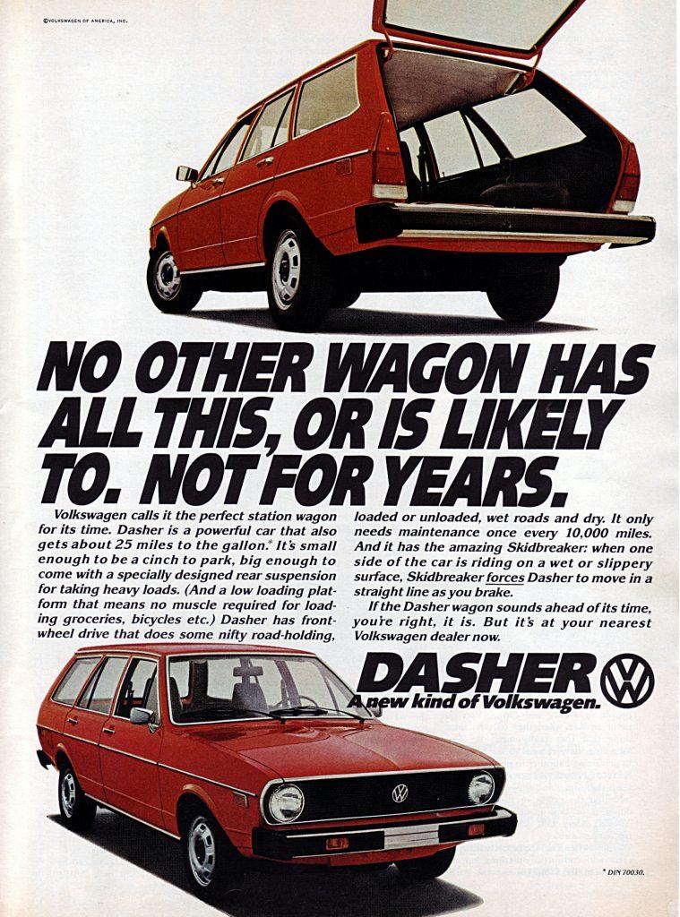 1975 Volkswagen Dasher Vintage Magazine Ad
