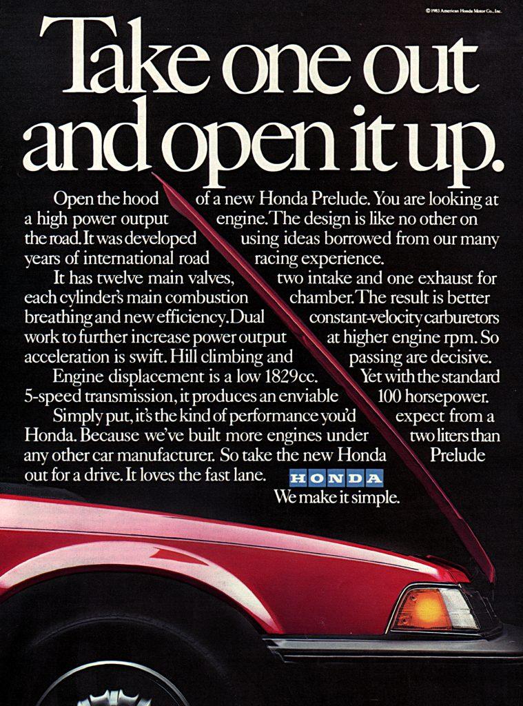 1983 Honda Prelude Vintage Magazine Ad