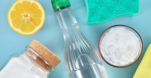 Use vinegar, baking soda, water and lemon for a green cleaning solition