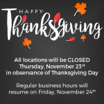 Thanksgiving Day: All Locations Closed