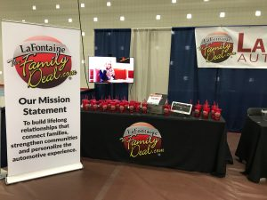LaFontaine booth with Family Deal Mission Statement