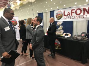 Ryan LaFontaine visits with Intern at Career Fair
