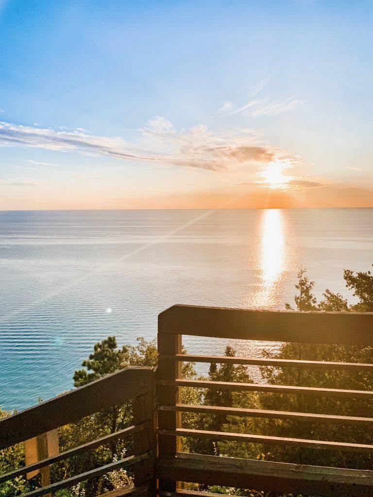 inspiration point lake michigan, sunset